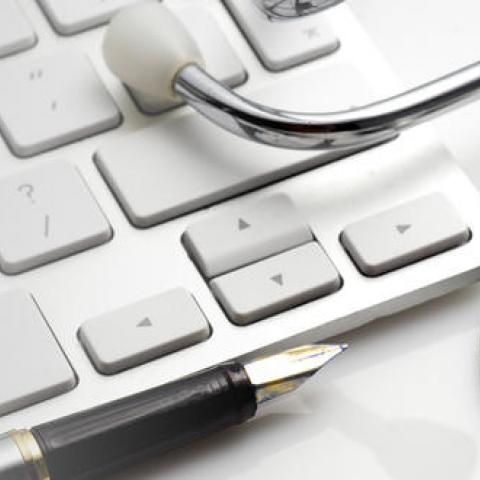 Background Image of Keyboard and Stethoscope